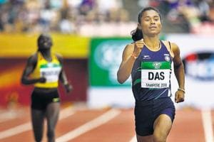 Hima Das in action during the women