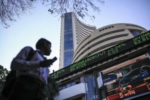 An electronic ticker board indicates British pound to Indian rupee currency exchange rate outside the Bombay Stock Exchange.
