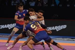 File image of players of Dabang Delhi in action in the PKL.