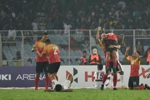 East Bengal celebrates 3-2 victory over Mohun Bagan at the I-League match, at Salt Lake stadium, in Kolkata.