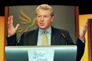 Leader of the Liberal Democrats Paddy Ashdown gives his keynote speech to the party
