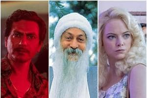 Nawazuddin Siddiqui, Osho and Emma Stone in stills from Sacred Games, Wild Wild Country and Maniac.