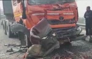 7 people were killed in a 50-vehicle pile-up near Rohtak on Monday morning.