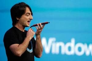 Microsoft corporate vice president Joe Belfiore, of the Operating Systems Group, demonstrates the new Cortana personal assistant during the keynote address of the Build Conference in San Francisco.