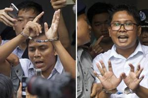 Wa Lone, 32, and Kyaw Soe Oo, 28, were arrested in December 2017 and later sentenced to seven year prison terms for what prosecutors said was the possession of classified material on security operations.