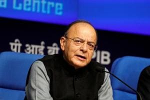 Finance Minister Arun Jaitley attends a news conference in New Delhi