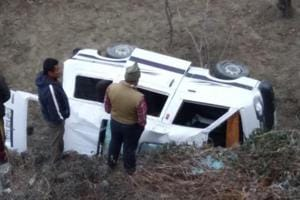 Four tourists from Haryana died on the spot when the car they were travelling in fell into a deep gorge near Theog, 30 kilometres from the Himachal Pradesh capital Shimla.