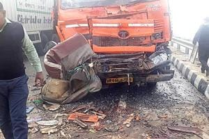 Eight people, including seven women, were killed and 10 others injured in a pile-up involving around 20 vehicles at the Badli bypass on the Rohtak-Rewari highway here on Monday. December 24, 2018:Photo by Manoj Dhaka/HindustanTimes