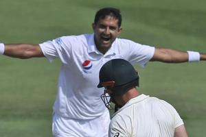 File image of Mohammad Abbas celebrating a wicket.