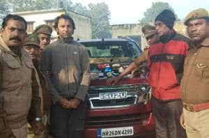 Golfer Jyoti Randhawa (2nd from left) arrested on poaching charges in Uttar Pradesh's Bahraich.