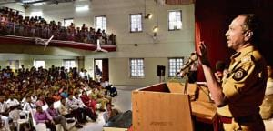 Pune Police Commissioner K Venkatesham at interactive session with students of SP College in Pune