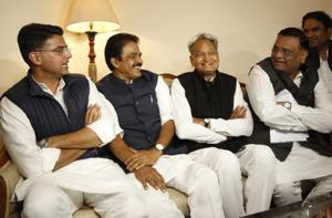 Congress party leaders Sachin Pilot, K.C. Venugopal, Rajasthan chief ministerAshok Gehlot.