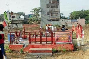 The authority removed the pandal but left the idol undamaged.