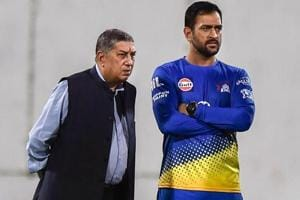 MS Dhoni along with vice chairman and managing director of India Cements — N Srinivasan