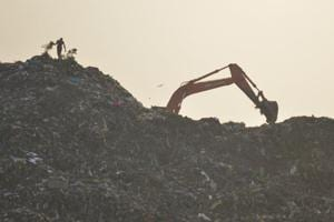 A view of Pratap Vihar dumping ground, in Ghaziabad