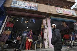 A shop owned by one of the accused among 10 people who were arrested by National Investigation Agency (NIA) officials for alleged links with an ISIS module, at Jafrabad, in New Delhi, India, on Thursday.