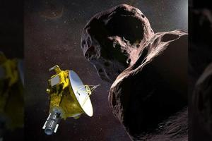 Artist's illustration obtained from NASA shows the New Horizons spacecraft encountering 2014 MU69 – nicknamed 'Ultima Thule' – a Kuiper Belt object that orbits one billion miles beyond Pluto.