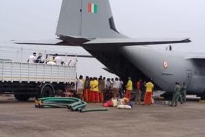 An team of rescuers from Odisha left on Friday morning in a special aircraft of the Indian Air Force with 20 high-power pumps to assist in rescue operation in Meghalaya for 15 miners trapped for past 16 days.