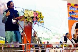 Uttar Pradesh Sports minister Chetan Chouhan addressing third national conference of Krira Bharti during the inaugural session in Dhanbad on Friday.