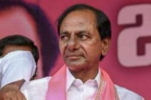 Nizamabad: TRS Supremo and Telangana Chief Minister K Chandrasekhar Rao with party leaders at a public meeting in Nizamabad, Wednesday, Oct 3, 2018. (PTI Photo) (PTI10_3_2018_000143A)