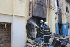 Fire Brigade personnel at Sadhana building in Worli on Sunday.