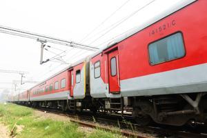 A Rajdhani Express heads towards New Delhi.