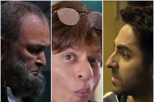 Rishi Kapoor, Shah Rukh Khan and Ayushmann Khurrana in stills from Mulk, Zero and Andhadhun, three of the top 10 films of 2018.