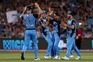 Rashid Khan of the Strikers celebrates the wicket of Cameron White of the Renegades during the Adelaide Strikers v Melbourne Renegades Big Bash League Match at Adelaide Oval on December 23, 2018 in Adelaide, Australia.