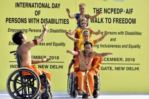 Differently abled artists perform during an event on the occasion of International Day of Disabled Persons, New Delhi, December 3, 2018. Is there anything left worth hoping for? Ask the disabled people who only manage to participate marginally in systems that are not build conducive to them, but do it every day.