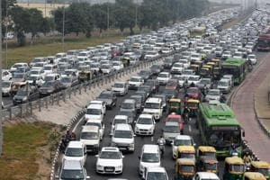 A view of the traffic jam at Delhi-Meerut Expressway in New Delhi, India. Image for representation.