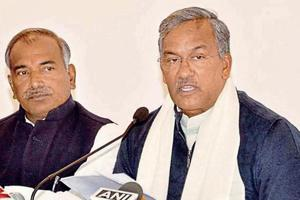 Chief minister Trivendra Singh Rawat addresses a press conference at his residence in Dehradun on Monday, December 31, 2018.