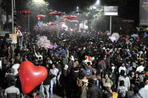 People at Good Luck chowk, Deccan in Pune on Monday night to welcome the New Year.