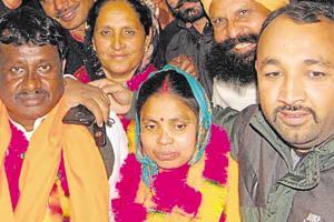 Newly elected sarpanch Promila Kumari at Ramnagar village on the outskirts of Amritsar city on Monday.