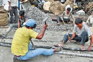 The Mayapuri scrap market in New Delhi where old vehicles are dismantled.