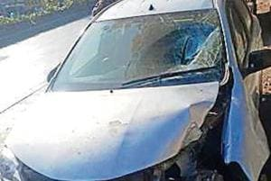 The car,  being driven by a 65-year-old man, crashed into a pole after hitting the woman.