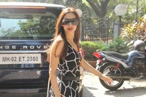 Malaika Arora was seen outside a salon in Mumbai onTuesday.