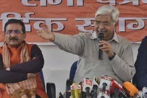 VHP working president Alok Kumar addressing a press conference at North Avenue in New Delhi.