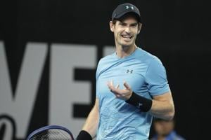 Andy Murray of Great Britain reacts after missing a shot during his match against Daniil Medvedev of Russia at the Brisbane International tennis tournament in Brisbane.