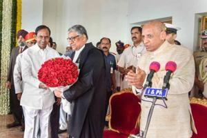 In Hyderabad, justice Thottathil Bhaskaran Nair Radhakrishnan (pictured) was sworn in as Telangana high court's first chief justice to mark the bifurcation. Justice C Praveen Kumar took oath as Andhra Pradesh's acting chief justice in Vijayawada.