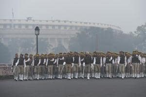 A Delhi Police contingent rehearses for the Republic Day parade at Vijay Chowk, New Delhi, on a smoggy Tuesday morning.
