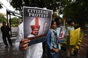 People held a protest against Bishop Franco Mullakkal for his arrest outside the Kerala House, in New Delhi, India, on September 21, 2018.