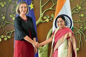 Minister of external affairs Sushma Swaraj with high representative of the European Union for foreign affairs Federica Mogherini.