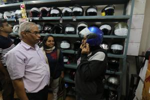 The sale of helmets has gone up due to the drive undertaken by the city traffic police.