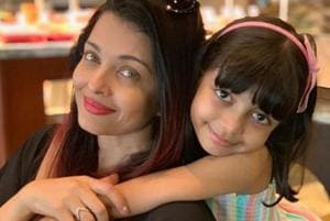 Aishwarya Rai with her daughter Aaradhya in a picture shared by Abhishek Bachchan.