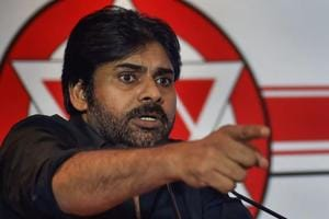 Telugu actor and Jana Sena party president Pawan Kalyan at a press conference in Chennai.