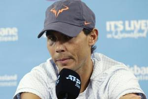 Rafael Nadal of Spain announces that he is pulling out of the tournament due to injury at the Brisbane International.