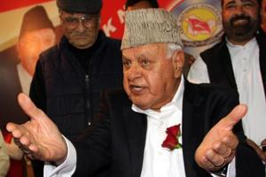National Conference President Dr Farooq Abdullah today called for resolution of the dispute over building of a Ram temple at Ayodhya through talks across a table, instead of leaving it to the court to decide (File Photo)