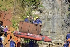Indian Navy personnel come out of a coal mine during a rescue operation in Ksan, Meghalaya, December 31, 2018 (File Photo)