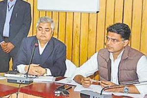 Deputy chief minister Sachin Pilot (right) at a meeting in Jaipur on Thursday, January 3, 2019.