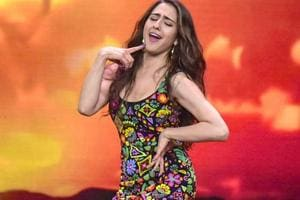 Bollywood actor Sara Ali Khan perform during promotion of the film Simmba on the sets of a TV reality show, in Mumbai.